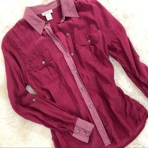 Lucky Brand Berry/Mauve Silk Button Down Shirt. M